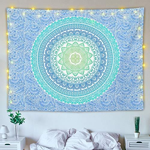Wandteppich Mandala,Wandtuch Mandala,Wandbehang Indisch Grün,Tapestry Boho Wall Hanging für Draußen Wohnzimmer Schlafzimmer