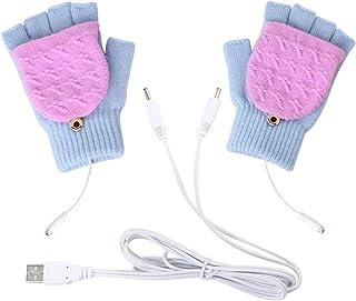 Petyoung Guantes con calefacción por USB, unisex, para invierno, con calentador de dedos y medio dedo, guantes para laptop, guantes para mujeres, hombres, niñas, niños, la mejor opción de regalo de invierno