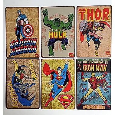Uniquelover Superhero Hulk, Superman, American Captain, Iron Man, Batman Marvel Comics Distressed Retro Vintage Metal Tin Sign Wall Decor 12  X 8  Inches--6pcs