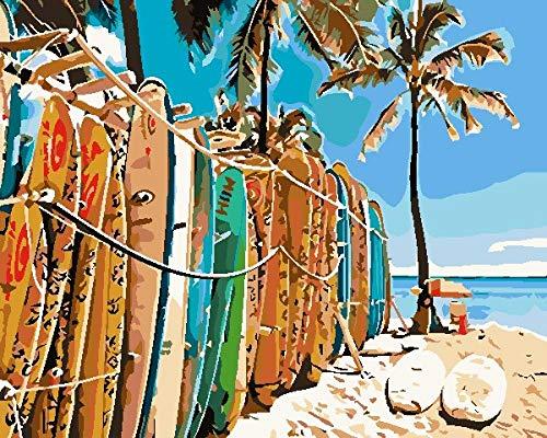 Pintar por Numeros Adultos Tabla De Surf De Playa Pintura Guiada por Numeros Pint por Número de Kits for Adultos Mayores Avanzada Niños Joven - Paint by Numbers 40x50cm (sin marco)