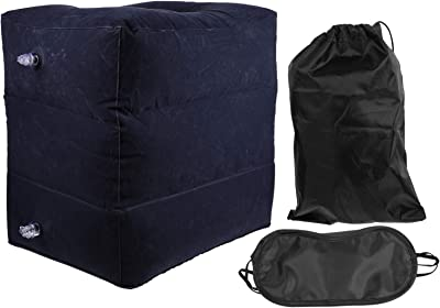 Wakauto 3pcs Inflatable Travel Foot Rest Pillow Portable Adjustable Three Layers Height Foot Stool with Black Eye Shield and Bag for Kids Adults Airplanes Cars Home Trains Office Blue