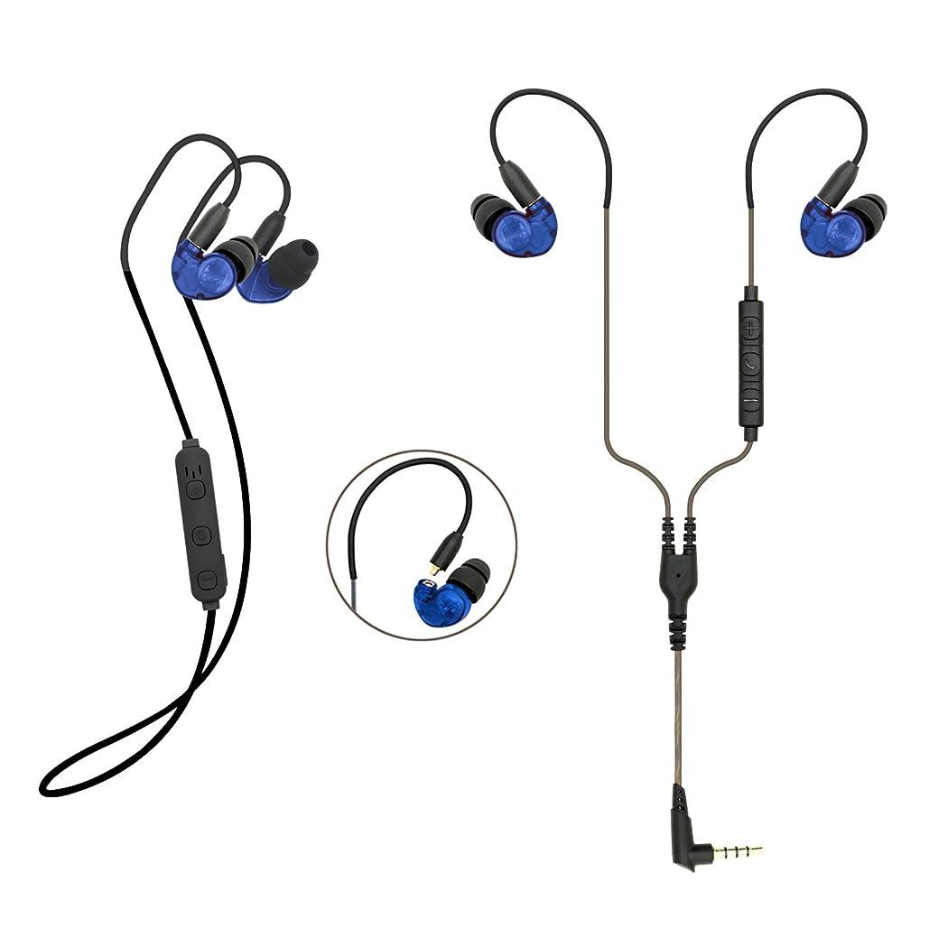 契約一般宣教師KSCAT ワイヤレス イヤホン Bluetooth4.1 高音質 ワイヤレス&有線両用 ヘッドセット CVCノイズキャンセリング 耳掛型 スポーツ ヘッドホン BC05 (B.ブルー)
