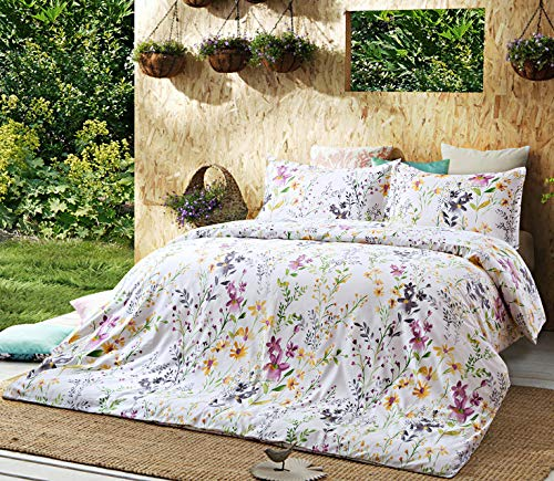 Windflower Bedding Bloomfield Floral Duvet Cover 3pc Set Cotton Botanical Nature Vines Branches Birds Butterflies Multicolored Flowers (Full/Queen, White)