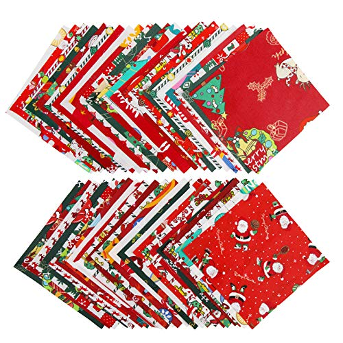 48 Pieces Christmas Cotton Fabric Bundles Square Christmas Tree Quilting Patchwork Precut Santa Claus Printed Fabric Scraps for Christmas Sewing DIY Crafts (5.9 x 5.9 Inch/15 x 15 cm)