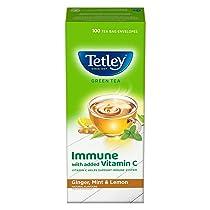Tetley Green Tea Immune with Added Vitamin C, Ginger, Mint & Lemon, 100 Tea Bags