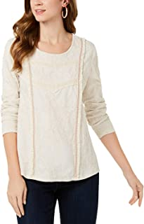 Style & Co. Womens Printed Fringe-Detail Top, Small, Warm Ivory
