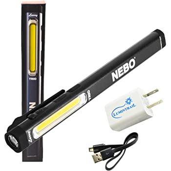 Rechargeable Flashlight Power Bank 700 Lumen LED Light with Red Light Bundle with a Lumintrial USB Wall Adapter Nebo Slim