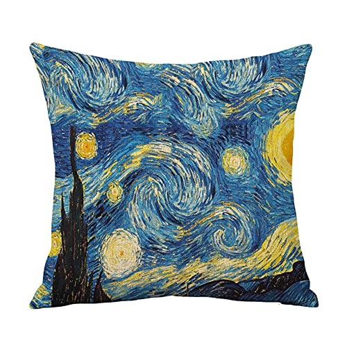 YINGZG Fundas de Cojín para Sofá Decorativos 45x45cm 18x18 Inch Van Gogh Algodón Lino Cuadradas Funda de Almohada Cubierta para Cojines Sofá Sala de Estar Dormitorio Throw Pillow Case Z1670