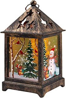 Atezch Christmas Lanterns,Glowing Cabin Tabletop Led Light with Snowflake Glass for Party Decor(Battery Operated)