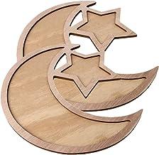 2 Sets Wood Tray Moon Wooden Star Tableware Dinner Plate, Party Serving Tableware for Breakfast Dinner Dessert Pastry Disp...