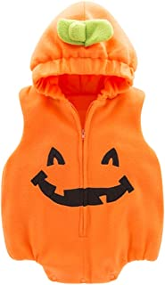 May's Infant Toddler Halloween Baby Kids Cute Pumpkin Costume Polar Fleece Comfy Jumpsuit