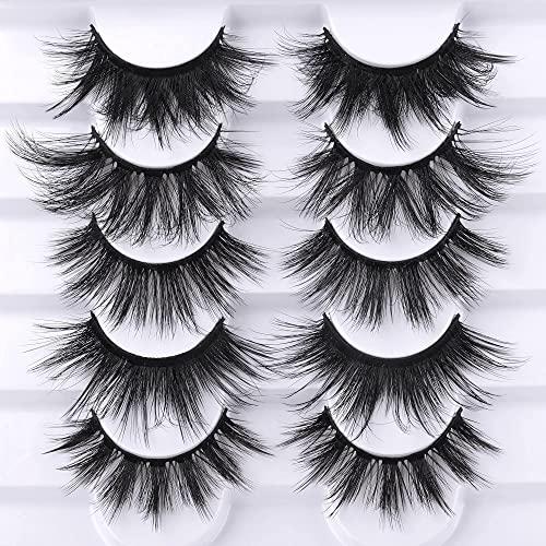 ALICE Eyelashes False Lashes 20MM Fluffy Natural Fake Eyelashes 5 Pairs Long Dramatic 5D Wispy Faux Mink Eye Lashes Multipack