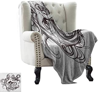 LsWOW Beach Blanket Sand Proof Anchor,Monochrome Octopus Tattoo Art Style Naval Sketch Mythical Kraken Beast Design, Brown and White Warm & Hypoallergenic Washable Couch/Bed Throws 30