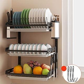 Sxmy Rostfritt stål köksställ väggmonterad svart diskställ kniv ätpinnar dräneringsställ fri perforering för att torka skå...