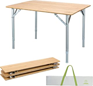 ATEPA Bamboo Folding Camping Table with Carrying Bag, Adjustable Height Legs Camp Table, Compact Lightweight Foldable Portable Outdoor Travel Picnic Table, 31.5 × 23.6× 17-25.6 Inches,11.5lbs