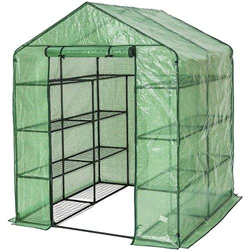 TecTake 401860 Gewächshaus mit Plane und 16 Metallablagegittern, schützt Pflanzen vor Kälte, Regen und Frost, 143 x 143 x 195 cm