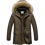 Teresamoon Men Winter Warm Hooded Zipped Thick Solid Fleece Coat Cotton-Padded Jacket (Most...