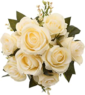 MeHelany Fake Rose Flowers,Artificial Handmade 9 Heads Silk Wedding Bouquet Floral Table Centerpiece, Home, Party, Bridal Decoration Pack of 1 (Cream)