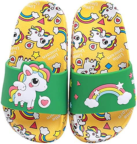 HausFine Ciabatte da Doccia Scarpe da Spiaggia e Piscina Unicorno Bambini Pantofole da Bagno Ragazzi e Ragazze Pantofole da Interno E da Esterno Sandali Unicorno (Unicorno B Giallo, numeric_34)