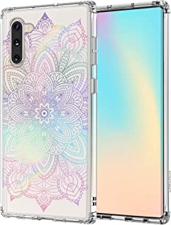 MOSNOVO Galaxy Note 10 Case, Gradient Rainbow Henna Mandala Pattern Clear Design Printed Transparent Plastic Back Case with TPU Bumper Protective Case Cover for Samsung Galaxy Note 10