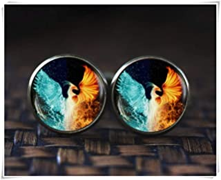 because meet you Phoenix Cufflinks, Phoenix fire and Water Cufflinks, red and Blue Phoenix Cufflinks, Phoenix Jewelry, Spiritual Cufflinks