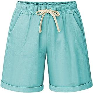 Les umes Womens Casual Cotton Loose Bermuda Beach Shorts Elastic Waist Baggy Shorts Trousers Pants with Drawstring