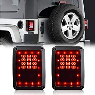 JINWEI Smoked LED Tail Lights for 2007-2017 Jeep Wrangler JK JKU with Back Up Rear Brake Reverse Turn Signal TailLights Daytime Running Lamps DRL