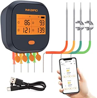 Inkbird WiFi Meat Thermometer Wireless Remote BBQ Thermometer IBBQ-4T with 4 Probes, Magnet Ovenproof Digital Cooking Ther...