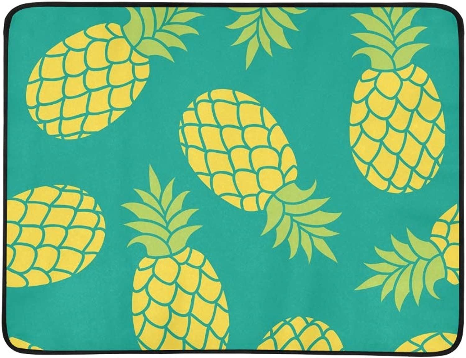 Pineapple Summer colorful Tropical Portable and Foldable Blanket Mat 60x78 Inch Handy Mat for Camping Picnic Beach Indoor Outdoor Travel