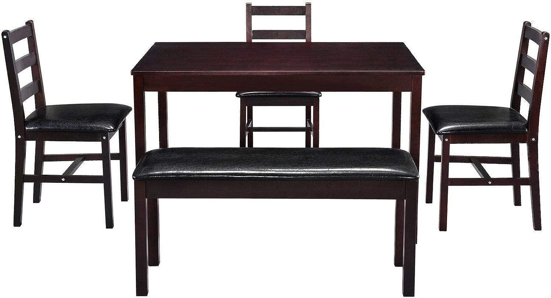 5個のダイニングテーブルセットベンチと3つのクッション付き椅子付き木製キッチンテーブルセット