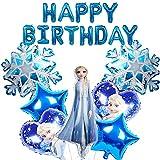 MEZHEN Globos Cumpleaños Decoracion Globos para Fiesta Princesa Globos Foil Copo de Nieve Happy Birthday Banner para Fiesta de Cumpleaños Baby Shower 8 Piezas