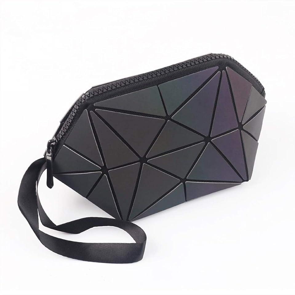 ランダム存在コーンウォール化粧ポーチ 幾何模様デザイン ホログラフィック反射素材 ファンデーションブラシ付き グレー