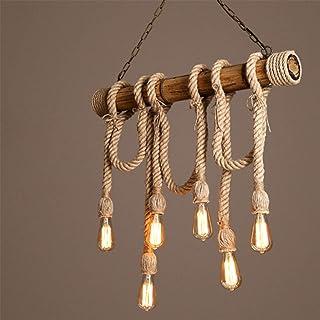 FWX Vintage Araña de Luces De Madera Lámpara Colgante Industrial Luz Colgante Cuerda de cáñamo Lámpara de Techo E27 luz de Techo Altura Ajustable Adecuado para Sala de Estar, Bar, cafetería,6heads