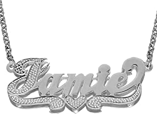 SNS355iT Personalized Sterling Silver 3D Name Necklace with Accent on First Initial and Tail