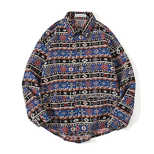 Herren Casual Hemd Jacke Herbst Ethno-Stil Hemd Mantel Männlich Japanische Retro Revers Jacke Tops Gr. L, D