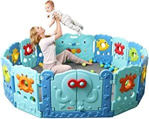 Marine Fence Playpen 14 16 Kids Panel Set  Kids Play Center  Kids Playpen  Indoors and Outdoors Large non-toxic safe with games and barriers for infants