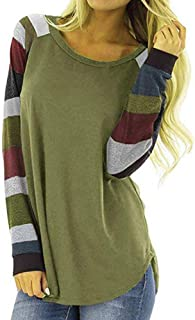 Makulas Womens Crew Neck Sweatshirt Pullover Stripe Patchwork Long Sleeve Tunics Casual Loose Blouse Fashion T-Shirt