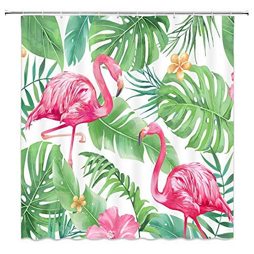 Feierman Pink Flamingo Shower Curtain Art Decor Green Tropical Jungle Bathroom Curtain Decor Set with Hooks 70x70Inches