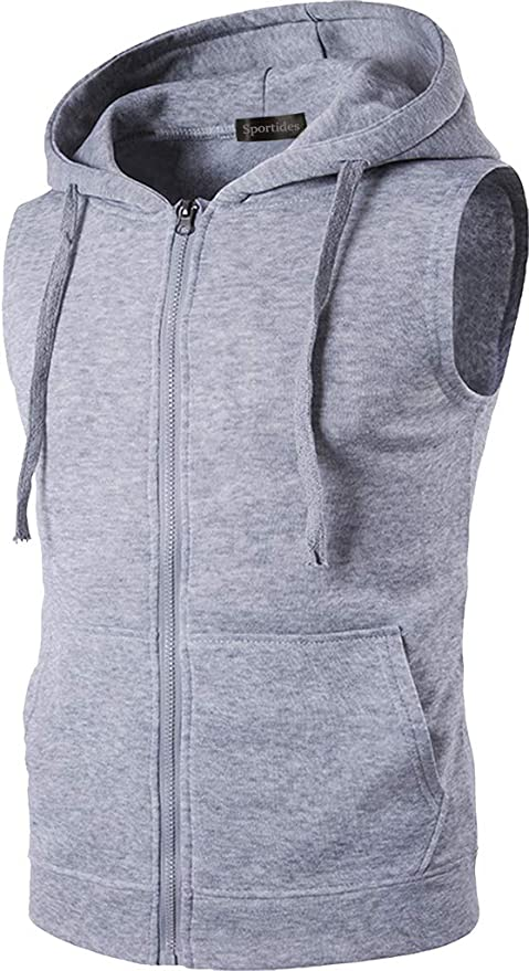 Sportides Uomo Casual Gilet Waistcoat Hoodie Sleeveless Sweatshirt Zipped Vest Top JZA002