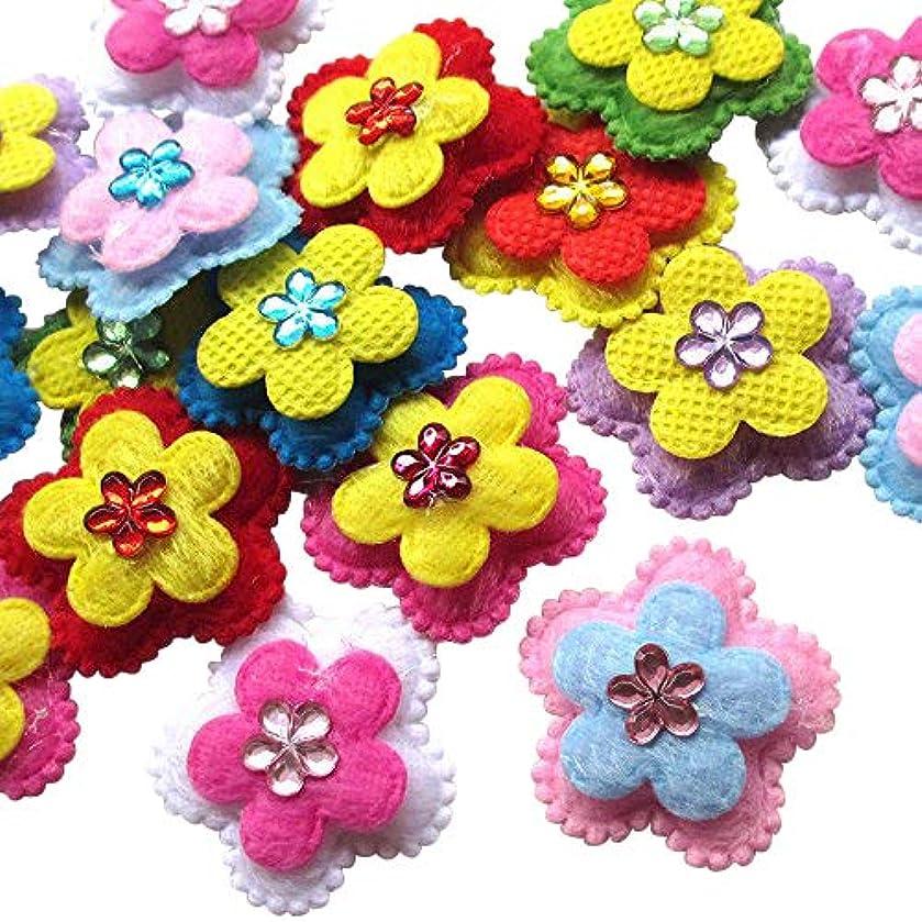 60pcs Felt Padded Flowers Appliques Craft Wedding Deco Mix Lots Bulk