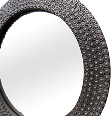 Indune Lifestyle Handcrafted Mechanical Ball Bearing Wood Glass Round Mirror Frame (Antique Black)