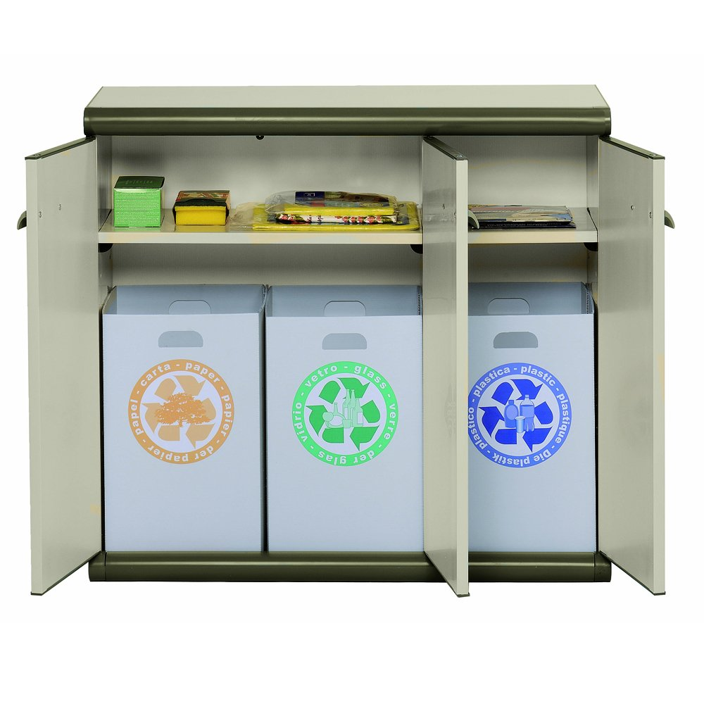 Garofalo – Armario bajo de plástico 3 puertas y 3 bandejas de reciclaje: Amazon.es: Hogar