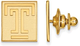 Solid 925 Sterling Silver with Gold-Toned Temple University Lapel Pin (15mm x 15mm)
