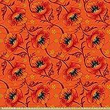 ABAKUHAUS Orange Microfaser Stoff als Meterware, Mohnblume