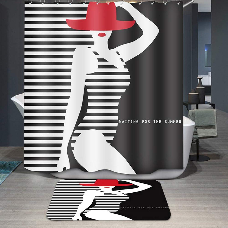 Tenda da Doccia in Tessuto di Poliestere Anelli in Plastica Ganci,Impermeabile, Antimuffa, con Ganci Inclusi,Design Diverdeente,Lavabile,150x180cm(59x71inch)
