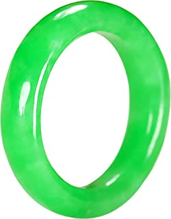 Natural Green Jade Band Rings for Women, Good Luck Simple Gemstone Ring Jewelry Gift Custom Engagement Ring, Size 6-8