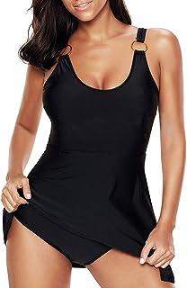 Women's Plus Size Swimsuits Tummy Control One Two Piece Swim Dresses Bathing Suits