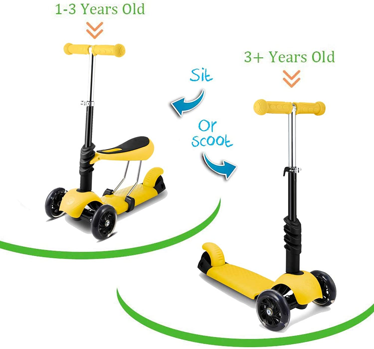 Aceshin 3in1 Kick Scooter for Kids Toddler Scooter Boys Girls with Removable Seat, LED Light Up Wheels and Adjustable Handlebar (US Stock)