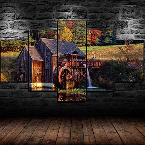 QIXINGFU 5 Pinturas De Lienzo Grandes -Póster Watermill Vermont Forest Cabin- Impresión En Lienzo De Alta Definición, Utilizada para La Decoración del Dormitorio, Regalo del Dia De La Madre