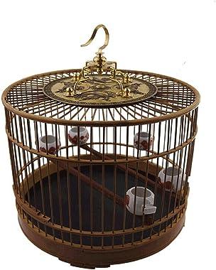 Zunruishop Cottages Bird House Featured Bamboo Material Birdcage with Hook Indoor and Outdoor Bird Villa Chinese Style Vintage Bird Cage Bird Nest/Bird House